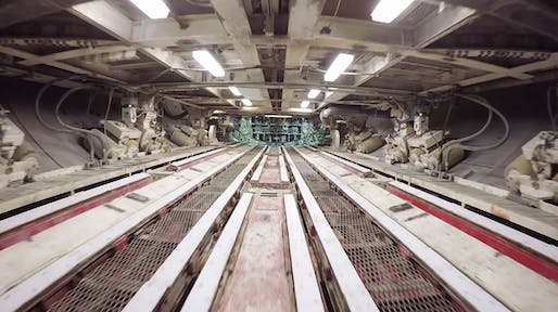 "What looks like a rebel-infiltration of the Death Star is actually a drone-captured impression of the inner workings of the gigantic tunneling machine ""Bertha"" currently digging its/her way underneath the temporarily closed Alaskan Way Viaduct in Seattle. (Still from WSDOT's drone video)"