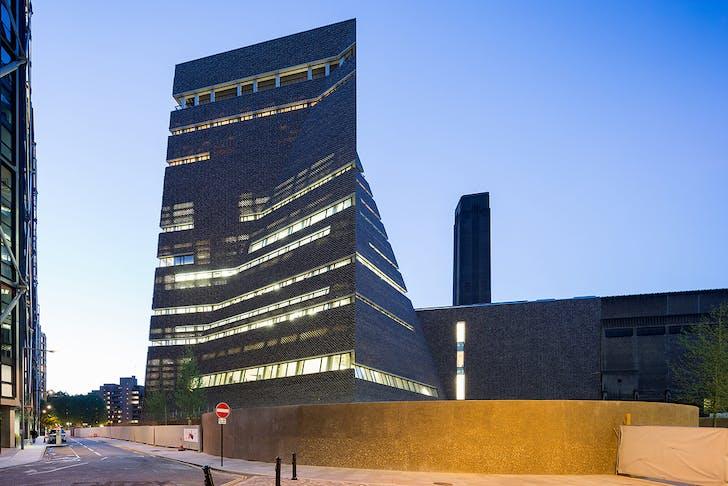 Tate Modern's Blavatnik Building by Herzog & de Meuron. Location: Bankside, central London, England. Photo: Iwan Baan.