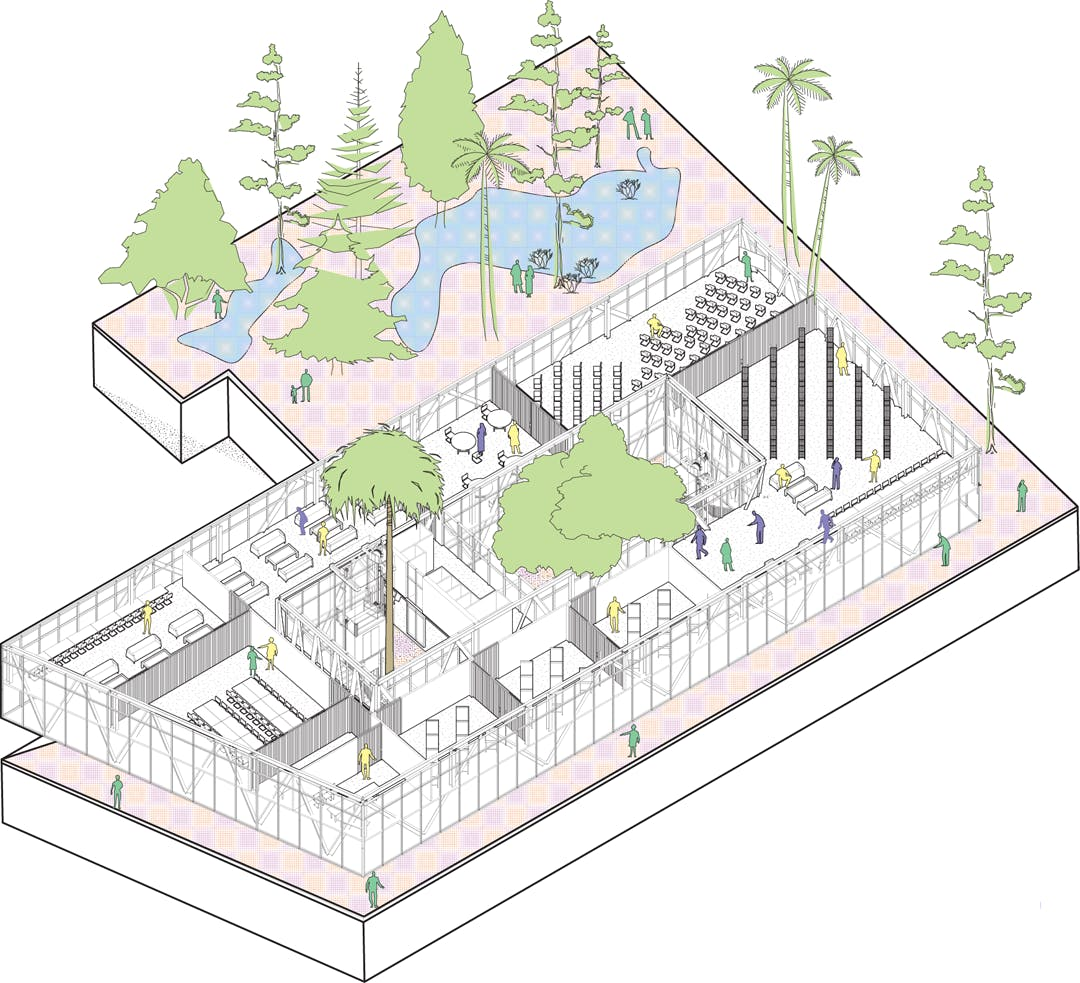 site axonometric the large and generous site can because of the operable and semi - Kitchen Incubator