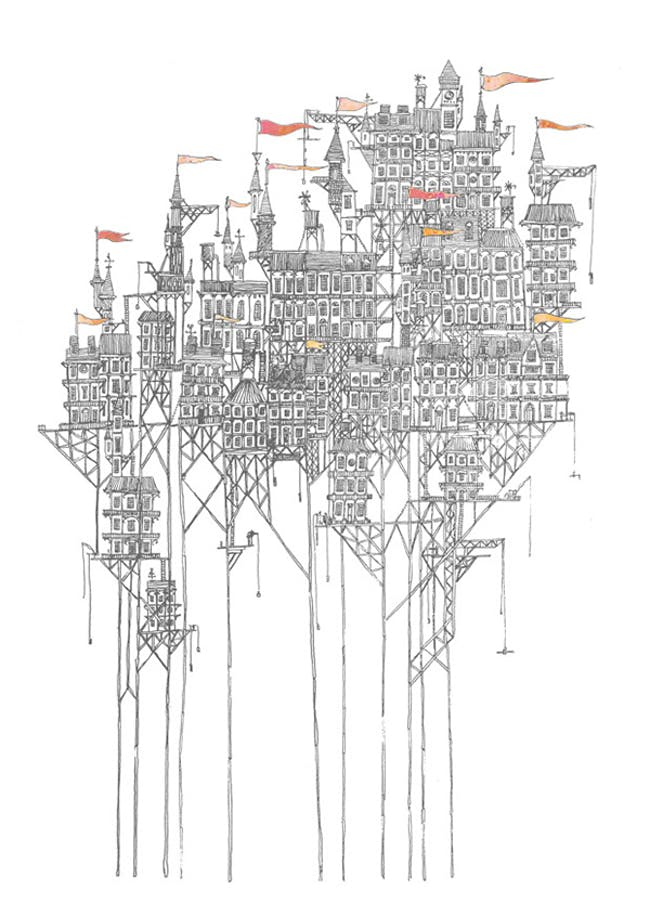 An image from David Fleck's illustrations of Italo Calvino's 'Invisible Cities.'