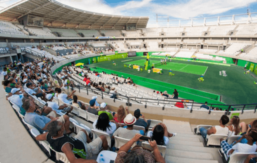 The Olympic Tennis Center in Barra Olympic Park is among the venues that has seen its fair share of troubles. This photo was taken during a test event in the unfinished center in December 2015. (Photo: Rio2016/Alex Ferro)