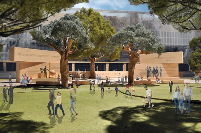 A rendering of the proposed Dwight D. Eisenhower Memorial to be built in Washington