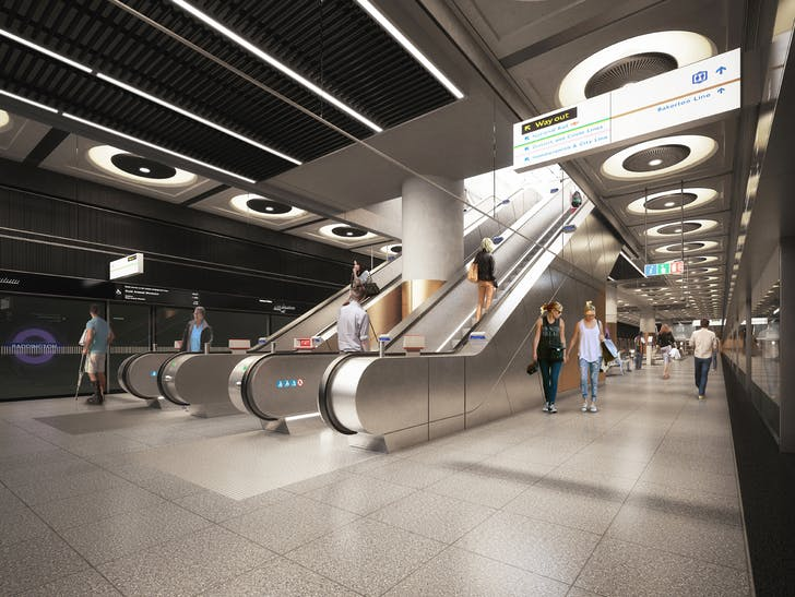 Rendering of Paddington station platform. Image courtesy of WestonWilliamson+Partners.