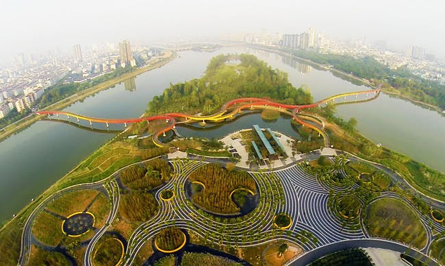 Landscape of the Year: Yanweizhou Park in China by Turenscape International. Image courtesy of World Architecture Festival 2015