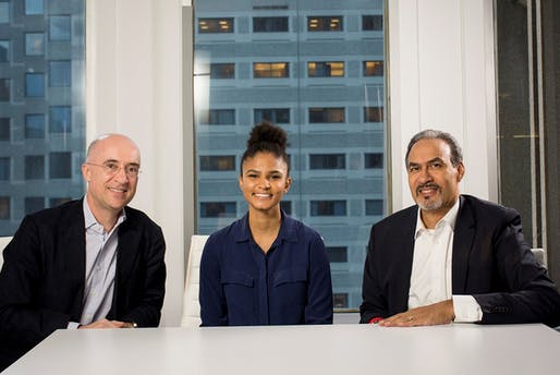 From left to right: Perkins+Will CEO Phil Harrison, Aria Griffin and Phil Freelon.