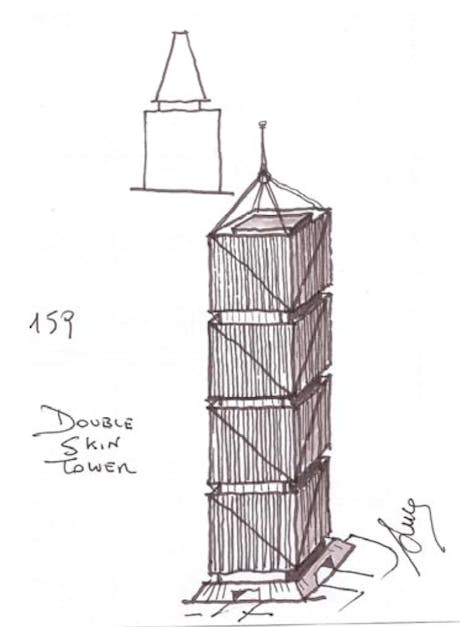 I'm looking for examples of high rise towers designed with double skin facades..