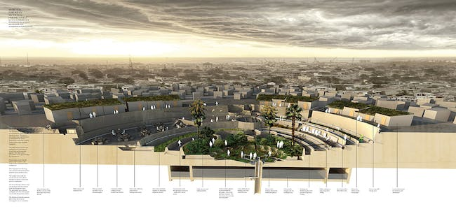 Sectional perspective of suburban hub with water treatment and aluminum moments. Toilets, showers and amenities surround the hub