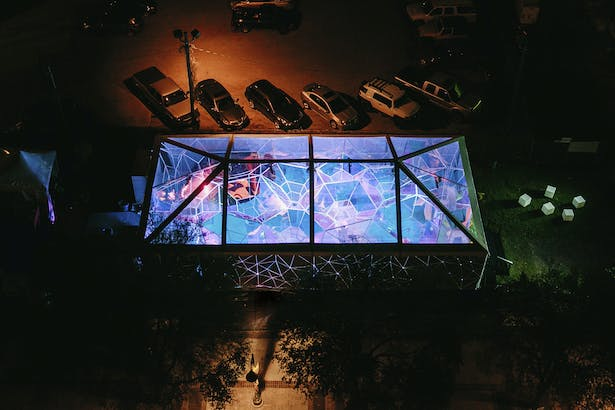 At night the dichroic film gave the tent a unique glow