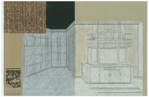 Bachelor's Condo   Closet   Interior Hand-Sketch