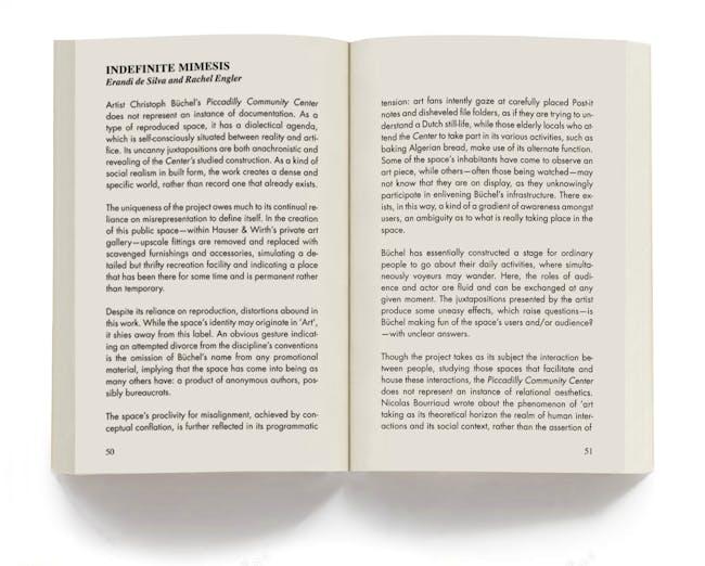 Page spread from 'Indefinite Mimesis', by Erandi de Silva and Rachel Engler.