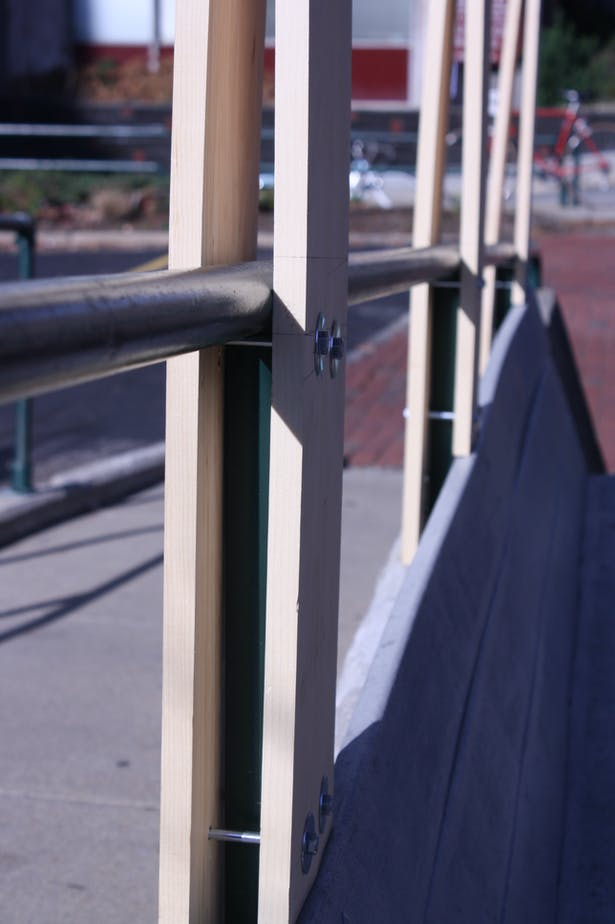 Detail of the connection to existing handrail. It was important that this connection was made without damaging the existing structure.
