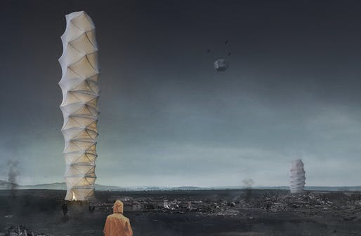 1ST PLACE: Skyshelter.zip: Foldable Skyscraper for Disaster Zones​ by Damian Granosik, Jakub Kulisa, Piotr Pańczyk | Poland​