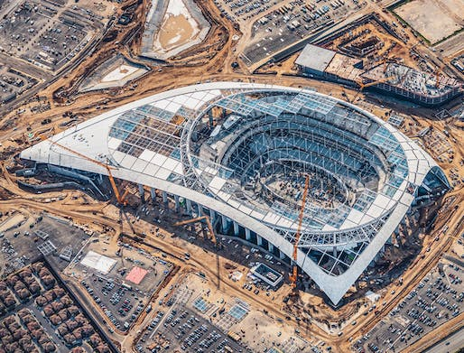 Winner 'Game Changer': SoFi Stadium (seen here under construction in early 2020). Image courtesy of Los Angeles Rams.