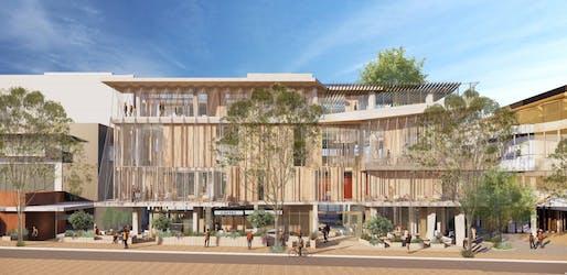 University of Melbourne student pavilion. Rendering: Koning Eizenberg Architecture.