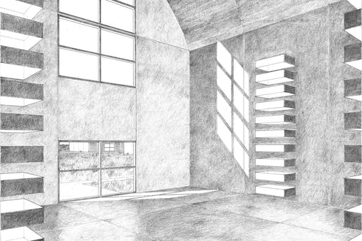 Interior view of 9 meter concrete building. Drawing by Claude Armstrong. Image via centerforarchitecture.org.