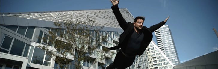 Bjarke takes Miesian immateriality—architect/ure supplanted by the image-apparatus—to new heights. Here he is filmed in suspended slow-motion somewhere between a leap and a fall, a figural escape from what he suggests are the immobilizing extremes of architecture. Still from Abstract: The Art...