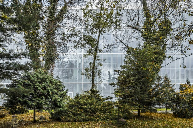 Academy garden reflected in east facade_Photo by Jakub Certowicz