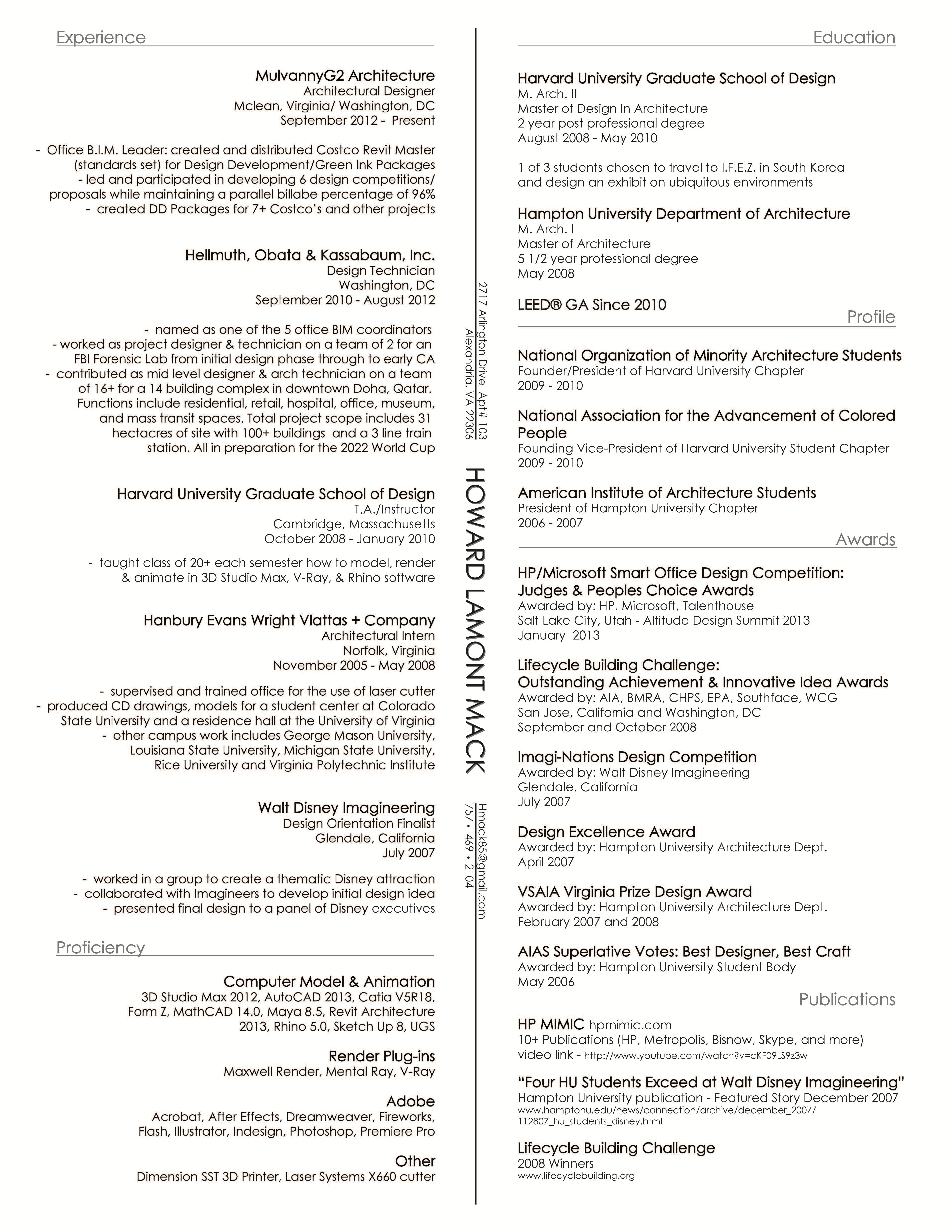 Resume | Howard Mack | Archinect