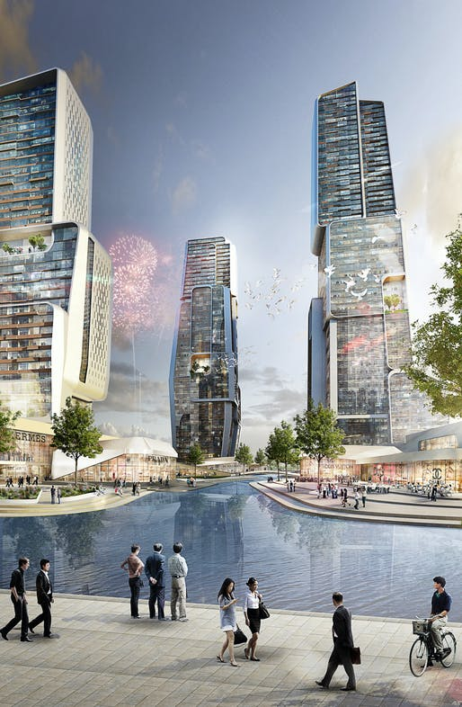 Rendering of UNStudio's proposed Yongjia World Trade Center (Image courtesy of UNStudio; Rendering: moka-studio)