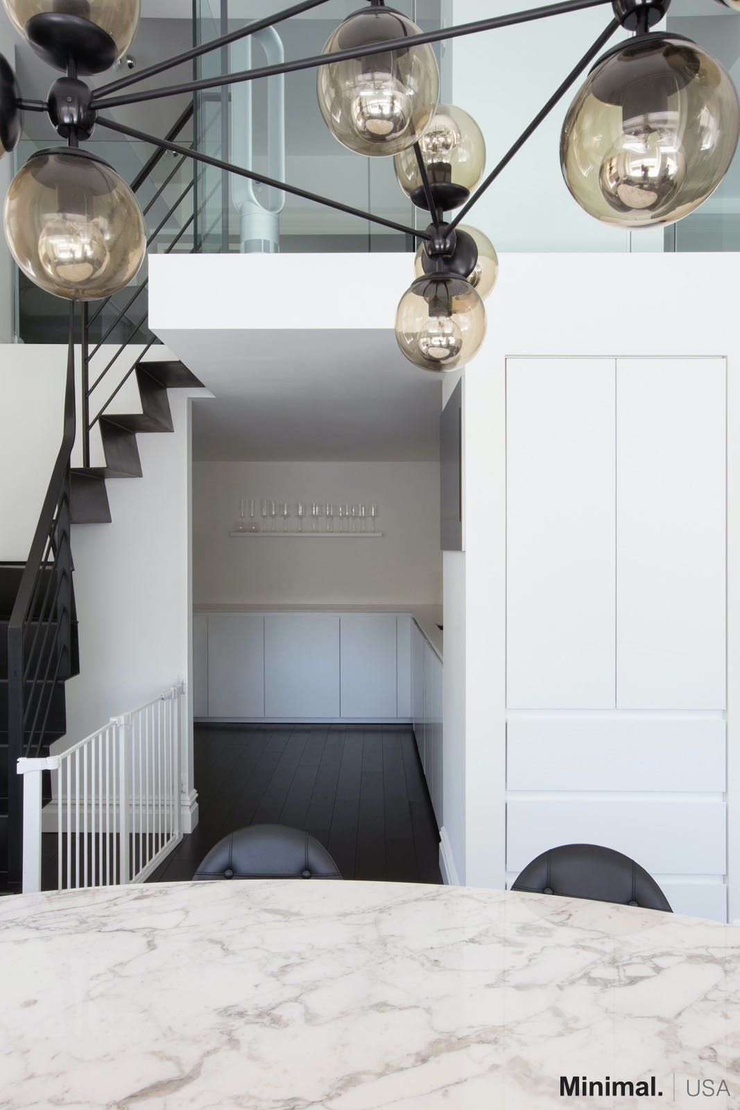Moving to the left  passing the modern living room  there is the kitchen s  entrance. Upper East Side Luxury Apartment   Minimal USA   Archinect