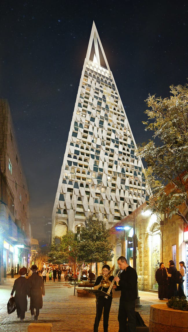 Rendering of the planned The Pyramid tower in Jerusalem, designed by Daniel Libeskind and Yigal Levi. (Copyright: Vingtsix; Image courtesy of Studio Daniel Libeskind)