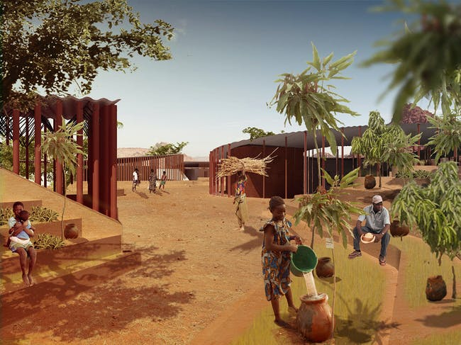 Holcim Gold Award: Secondary school with passive ventilation system: Courtyard.