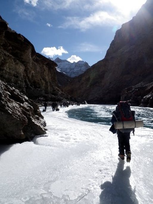 frozen surface of the Zanskar River by Jonathan Mingle for The New York Times