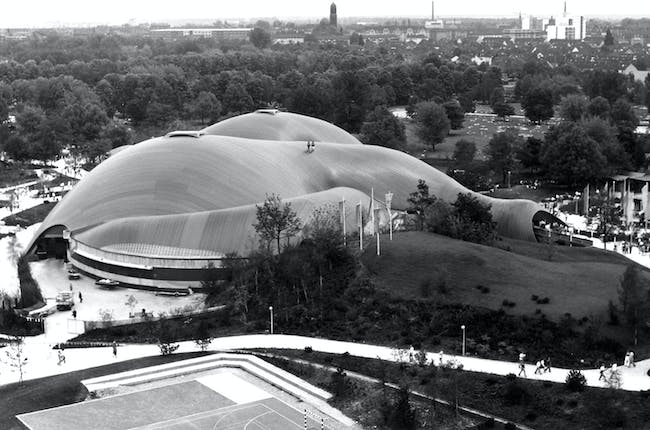 Roof for the Multihalle (multi-purpose hall) in Mannheim, 1970–1975, Mannheim, Germany. Photos © Atelier Frei Otto Warmbronn