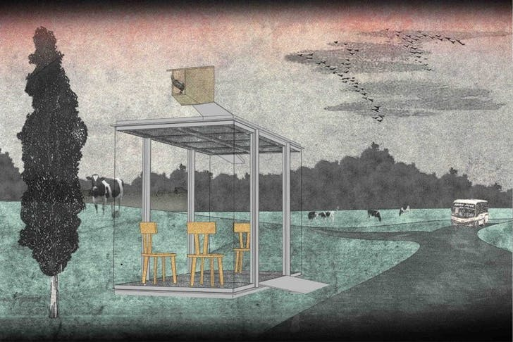 Smiljan Radic's bus stop design for Krumbach. Credit: Smiljan Radic / BUS:STOP Krumbach