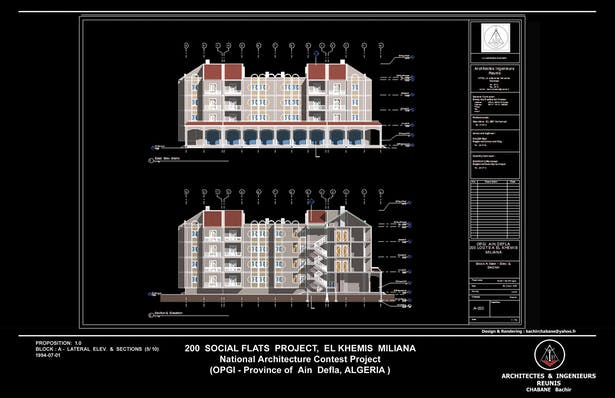 Elev. & Section - 200 Social Flats Project El Khemis Miliana ( Algeria)