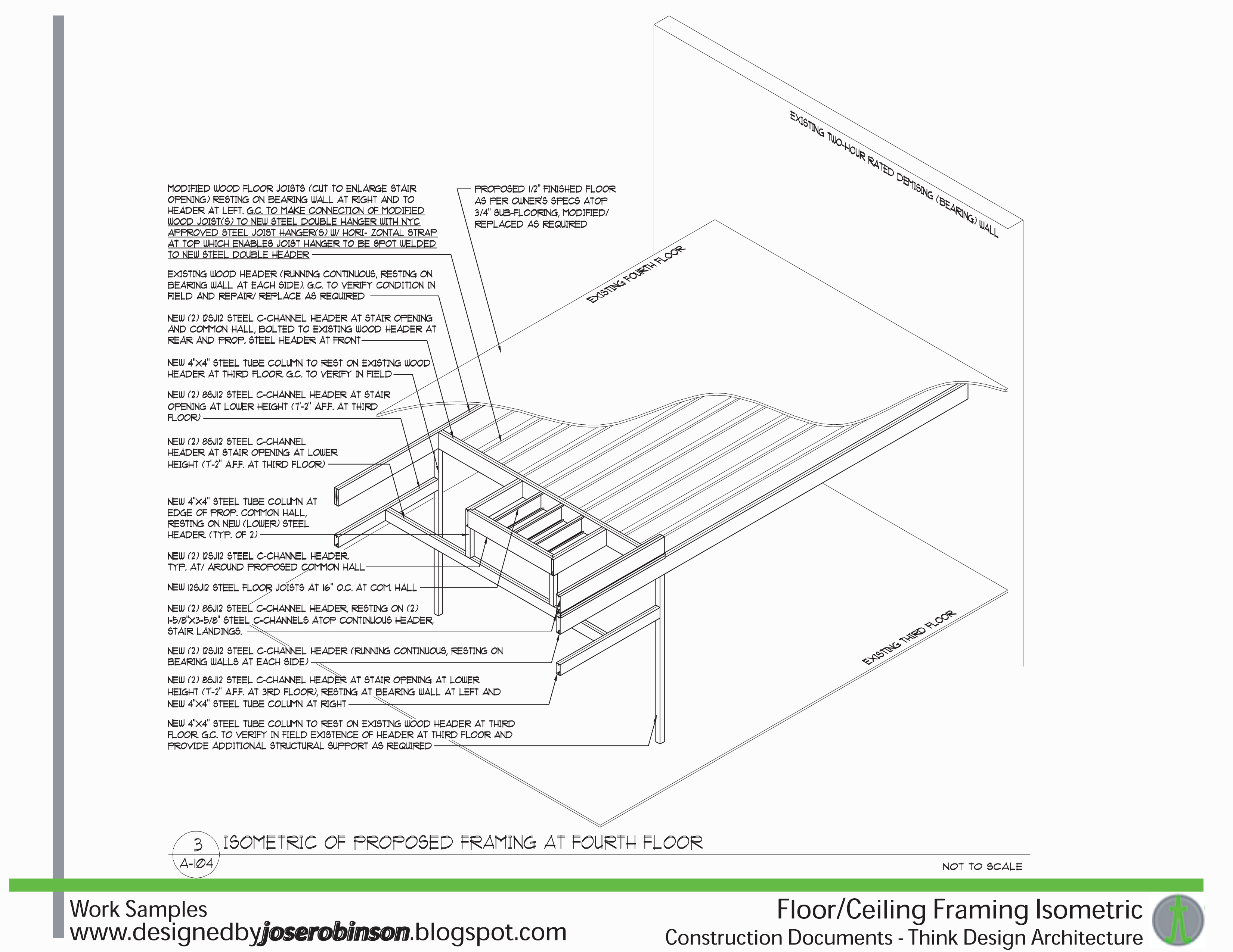This Is A Isometric Detail Of The Re Framing Of A Stair Opening In The
