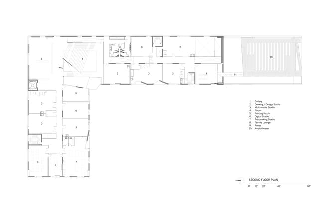 Glassell School of Art, Level 2 floor plan. Image © Steven Holl Architects.