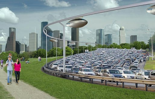 A rendering of SkyTrans with adjacent vehicular traffic and a happy family. Credit: Skytrans via CNN
