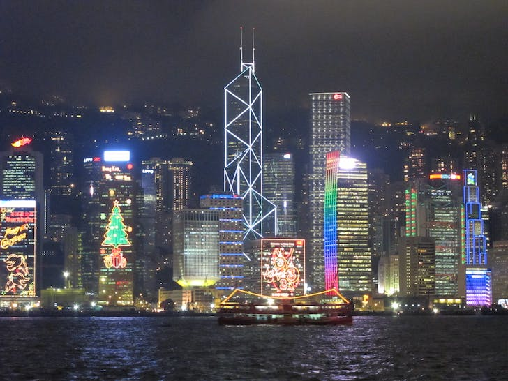 Hong Kong skyline, featuring the diamond-shaped exterior of the Bank of China Tower. Photo: thewanderingcarnivore.com.
