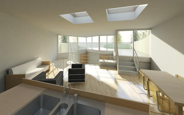 TERRAIN HOUSE 800 © Upper level living area with roof deck