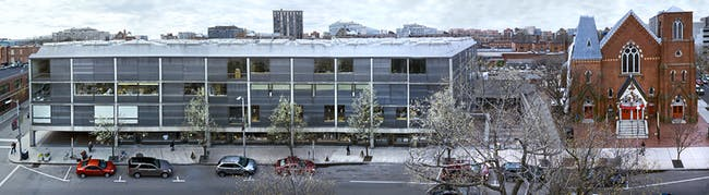 Yale Center for British Art, panoramic exterior view (spring), photograph by Richard Caspole.