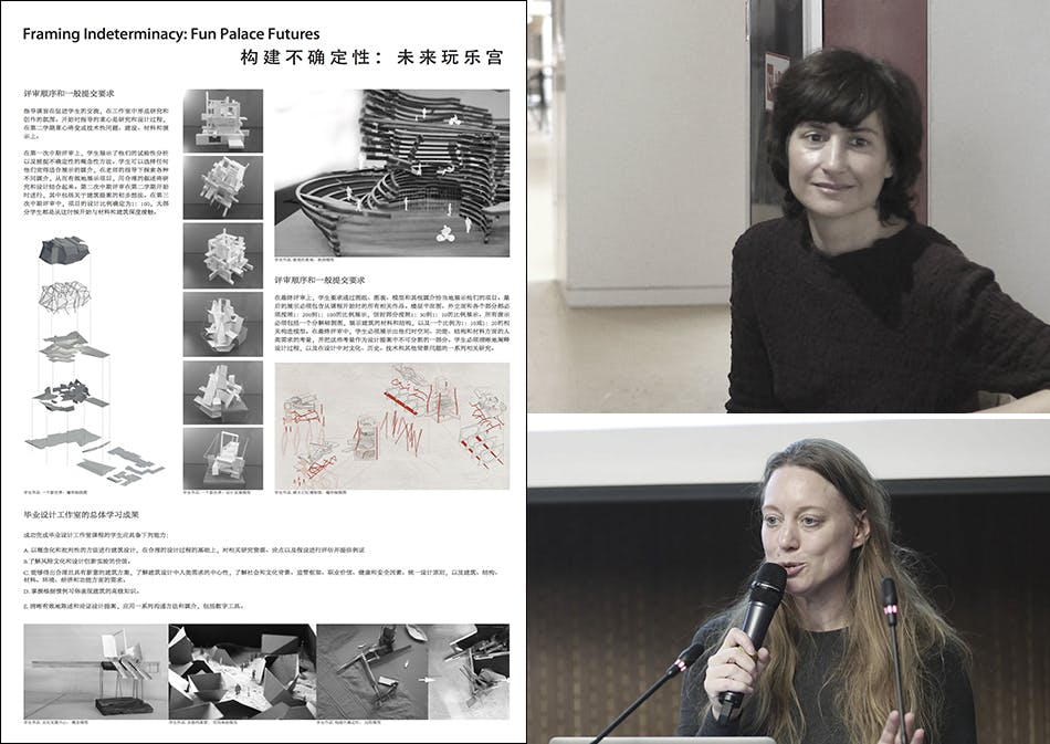 "From left to right: ""Framing Indeterminacy"" brief board no. 3. Associate Professor Aleksandra Raonic, and Associate Professor Claudia Westermann."