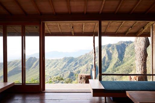 Pālehua Cabin, main cabin living room. Photo © Mariko Reed.