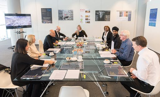 The RIBA Norman Foster Travelling Scholarship jury evaluating submissions. Photo © Nigel Young, courtesy of Foster + Partners.