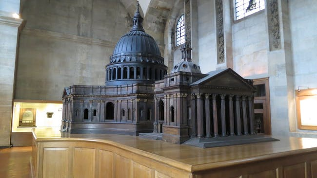 The Great Model of St. Paul's Cathedral by Christopher Wren. This is situated in the Trophy Room at St. Paul's Cathedral. Courtesy of Oliver Graham/Atlantic Productions