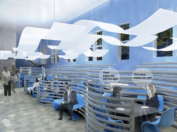 Inspired by waves I design the space to provide a calm, quiet, and intimate eating experience located right under the library space