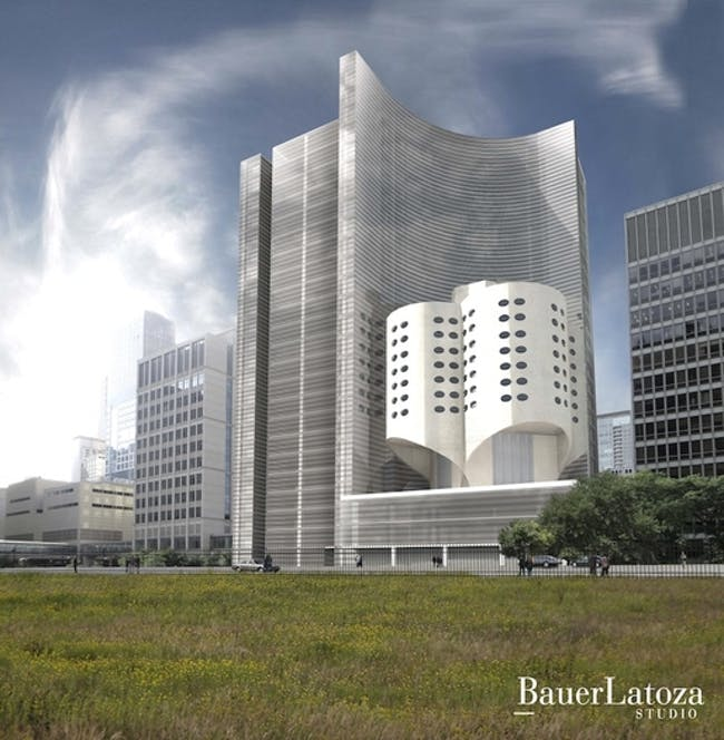 (courtesy National Trust for Historic Preservation) BauerLatoza Embracing Prentice alternative design for Prentice Hospital