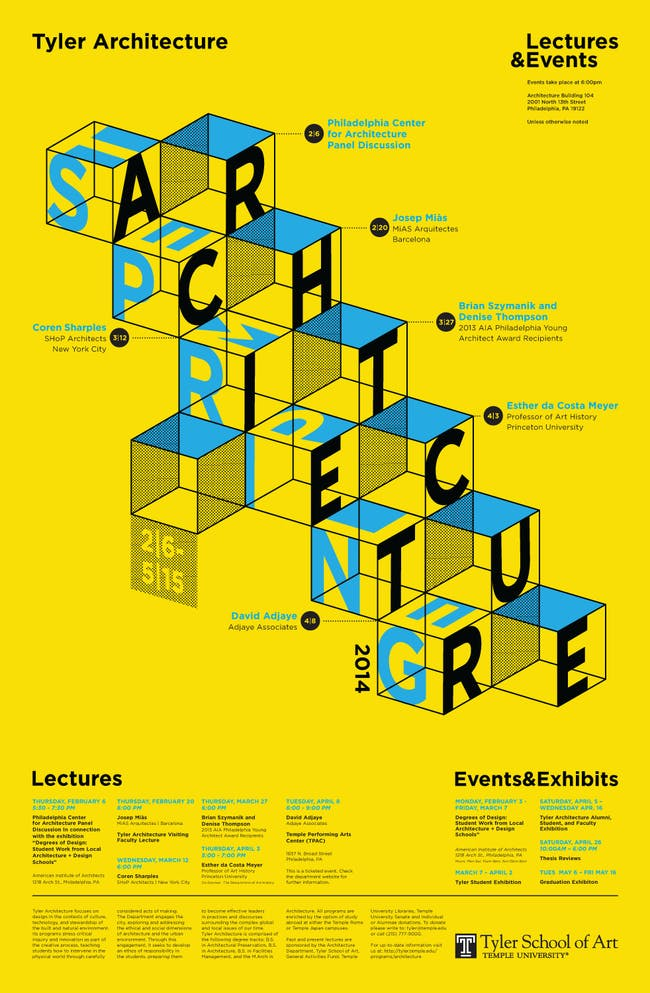 Spring '14 Lectures and Events at Tyler Architecture, Temple University. Image courtesy of Tyler Architecture.