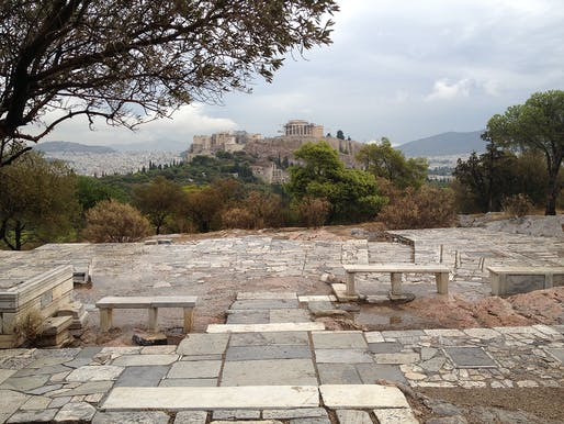 """""""Pikionis' Pathway: Paving the Acropolis"""" by Kevin Malawski. Framed Views of Acropolis Ruins, Athens, Greece. Photo Credit: Daniel Pearson"""