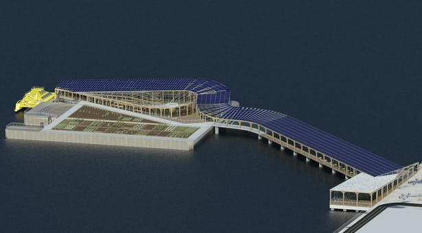 Harlem Piers Farm proposal, Southeast aerial Perspective: The southeast aerial view with its integrated photovoltaic and thermal solar panels, water collecting greenhouse roof, water taxi station and bike rental.