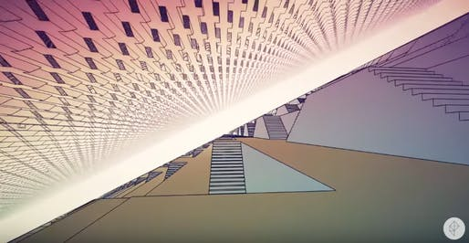 "Screenshot from William Chyr's ""Manifold Garden"" video game."