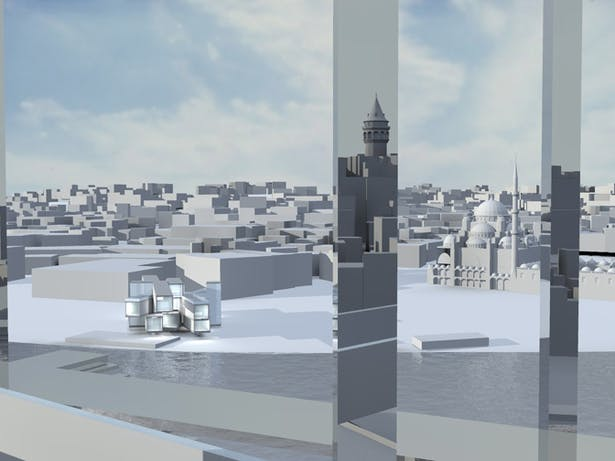 Daytime Render w/ Tower Reflection in Buildings Materiality