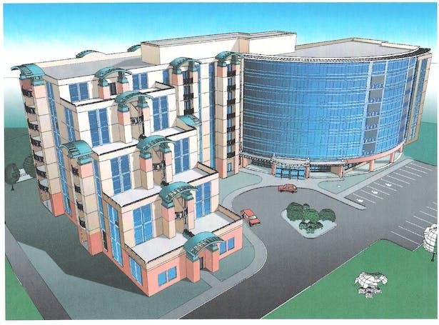High rise senior housing at Crystal Cathedral church campus, Garden Grove, Orange County, California