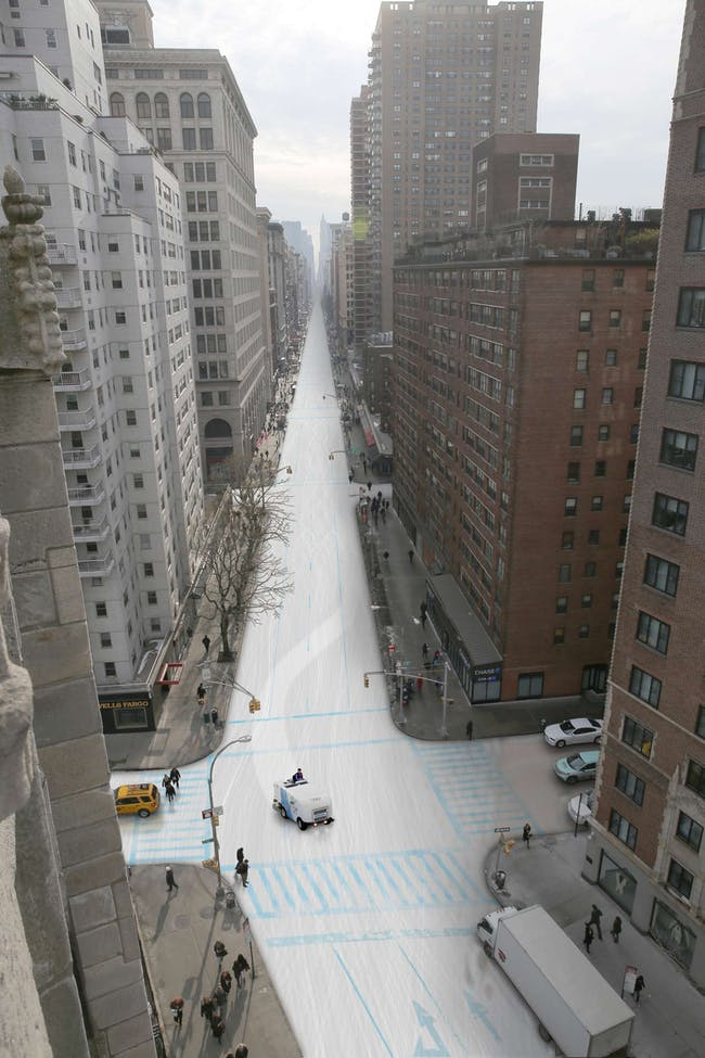 Speedskating: The trickle of traffic that now uses Broadway south of Times Square would hardly be inconvenienced by the installation of a long ice sheet for the 5,000-meter speedskating between Madison Square Park and Battery Park. Image via nytimes.com