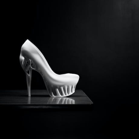 Designed by Marieka Ratsma in cooperation with Kostika Spaho, photography Thomas van Schaik. The idea for this shoe highlights the aesthetics and the shape of the bird skull, along with the characteristics of the lightweight, and highly-differentiated bone-structure within the cranium. Such structure requires less support-material, resulting in optimal efficiency, strength and elegance. by Marieka Ratsma